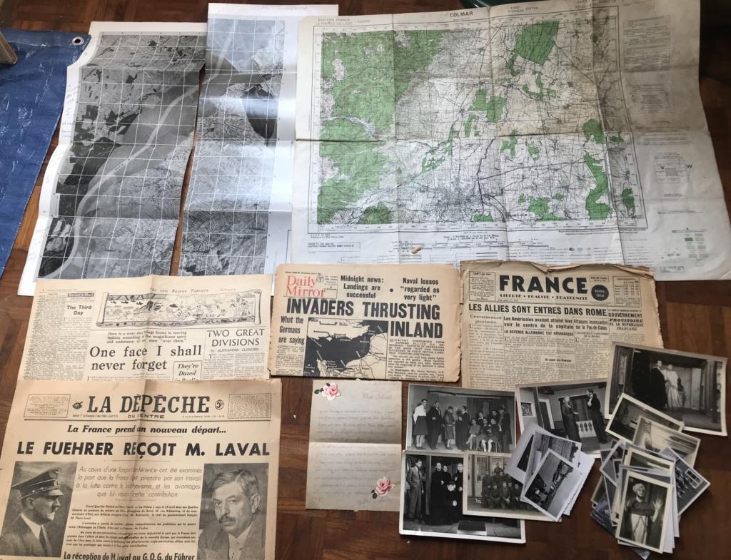Des papiers indo et ww2 : photo oflag, carte Colmar et indo, journaux DDay. 74e7c010
