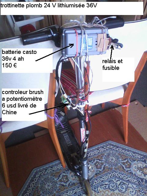 trottinette plomb brush 24V --> 36 V lithium Trot3610