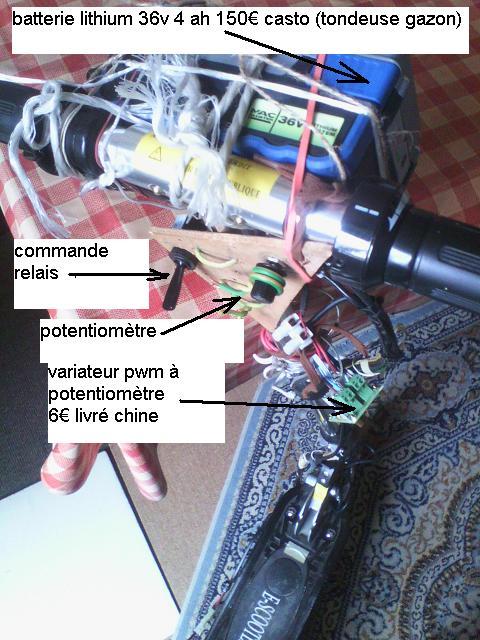 trottinette plomb brush 24V --> 36 V lithium Trot3612