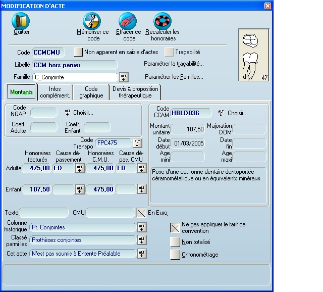 paramétrage CCM hors panier  CMU Ccm_ho12