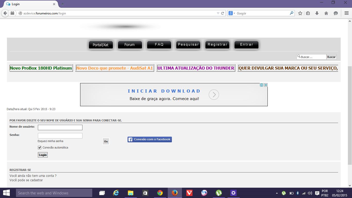 Caixa de login ao clicar na barra de ferramentas Captur36