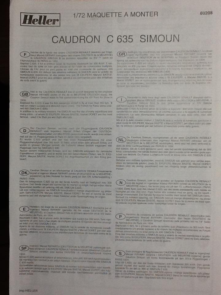 CAUDRON C 635 SIMOUN 1/72ème Ref 80208 Helle152