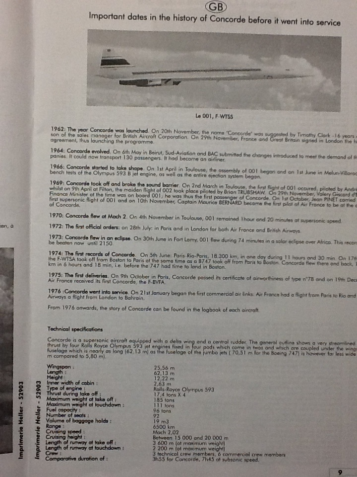 SUD AVIATION - BRITISH AIRCRAFT CORPORATION  CONCORDE 1/72ème Réf 52903 Notice Helle212