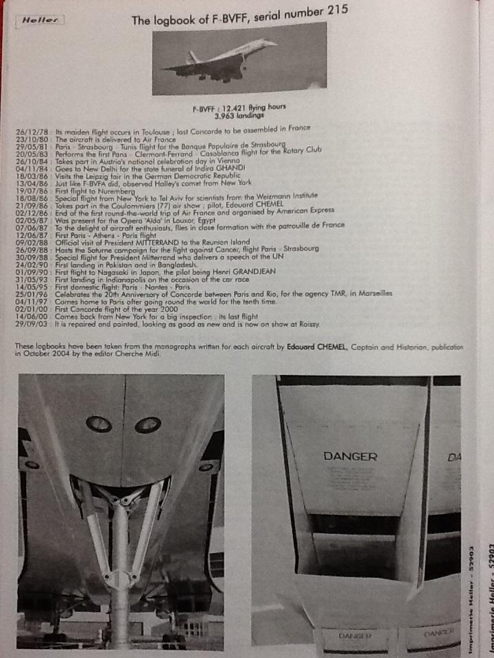SUD AVIATION - BRITISH AIRCRAFT CORPORATION  CONCORDE 1/72ème Réf 52903 Notice Helle215