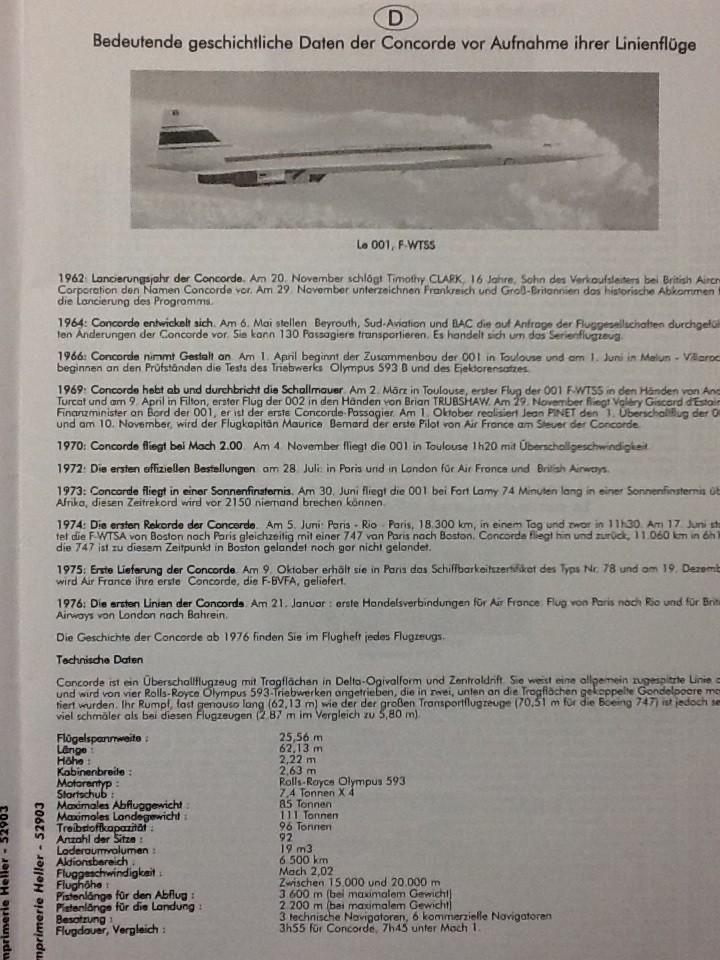 SUD AVIATION - BRITISH AIRCRAFT CORPORATION  CONCORDE 1/72ème Réf 52903 Notice Helle216