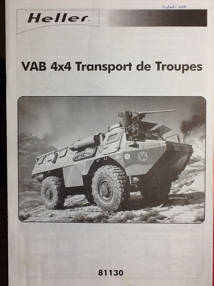 VAB 4X4 1/35ème Ref81130 Notice Helle559