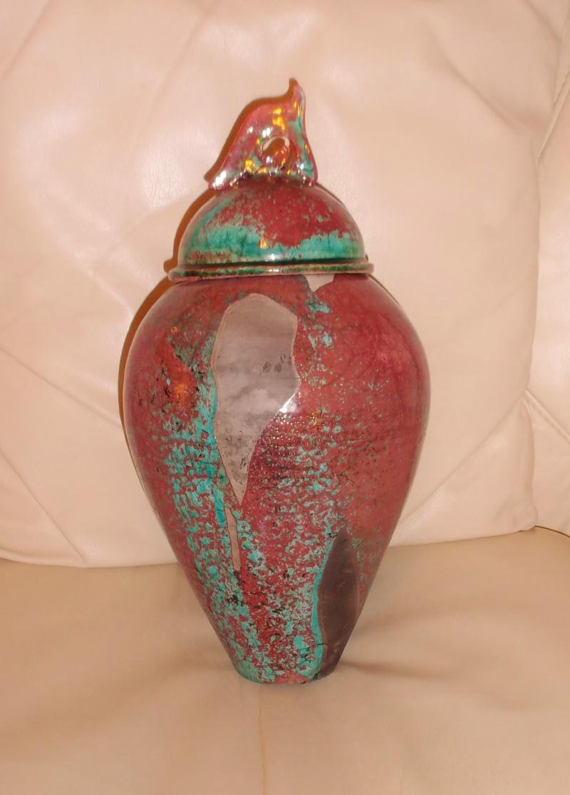 Tall Raku Lustre Glaze Urn/Jar Unmarked Dscf3116