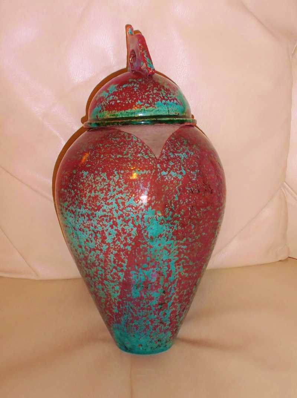 Tall Raku Lustre Glaze Urn/Jar Unmarked Dscf3117