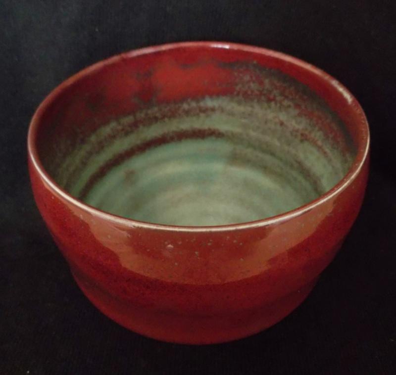 Porcelain Bowl, Chawan, Red & Copper Oxide Glaze Dscf3318