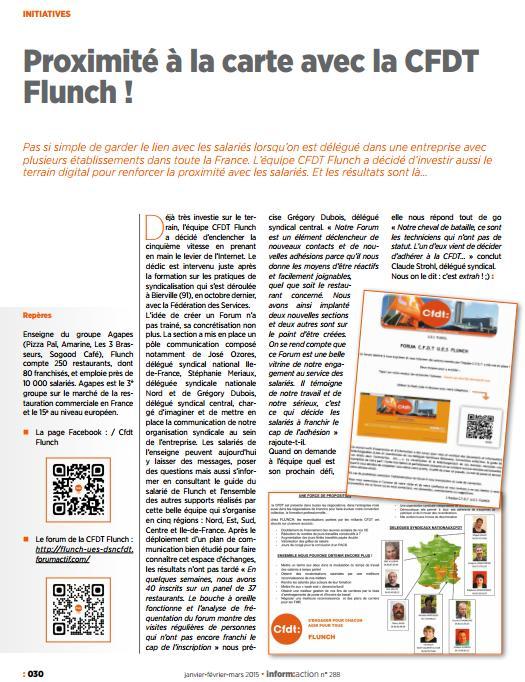 MARS 2015 : Article sur le forum et la section C.F.D.T  U.E.S  FLUNCH Magazine C.F.D.T Inform : action N° 288 Articl10