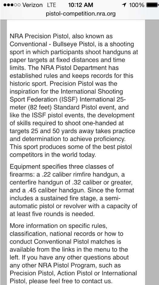 "NRA is moving forward with changing NRA Conventional Pistol to ""NRA Precision Pistol"" Precis10"