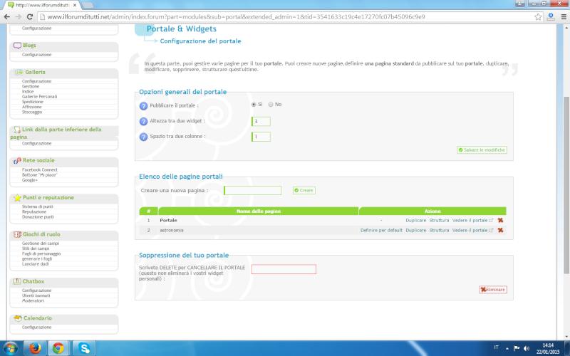 Creazione di più pagine portale per un forum Portal11
