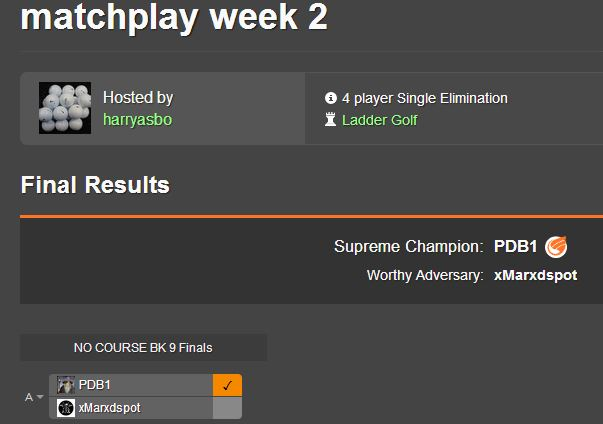 SATURDAY MATCHPLAY IN THE SUN WEEKLY RESULTS Matchp11
