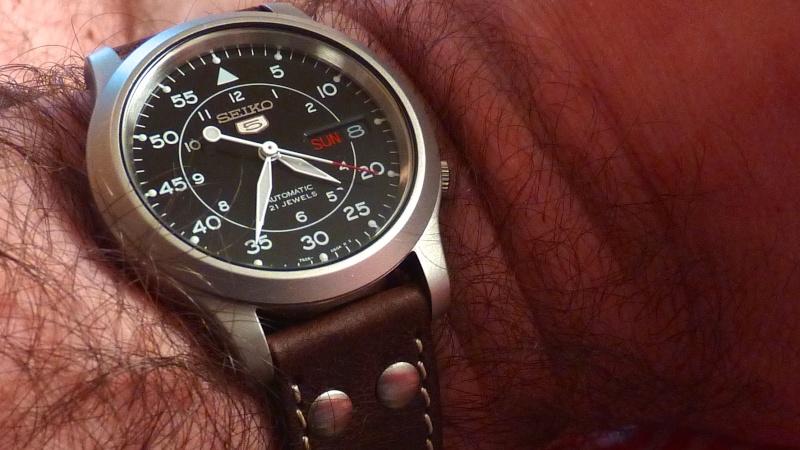 military - Bracelet cuir pour Seiko military petit poignet  P1020610