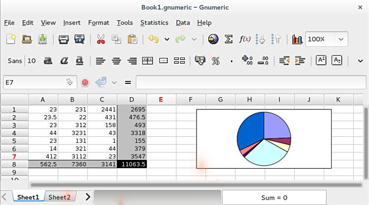 Gnumeric هو تطبيق جدول  التفاعلية من البيانات Select14