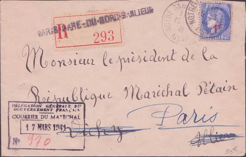 """Lettre adressée au maréchal pétain """"Président de la république"""" Envelo11"""