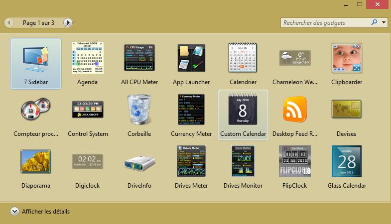 Retrouver les widgets comme sur Seven Toolba12