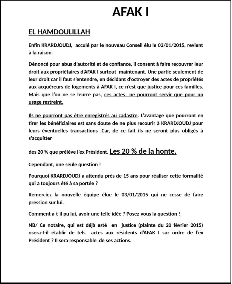Communiqué du Conseil de Gestion aux Résidents de la Résidence El Karma Annoon10