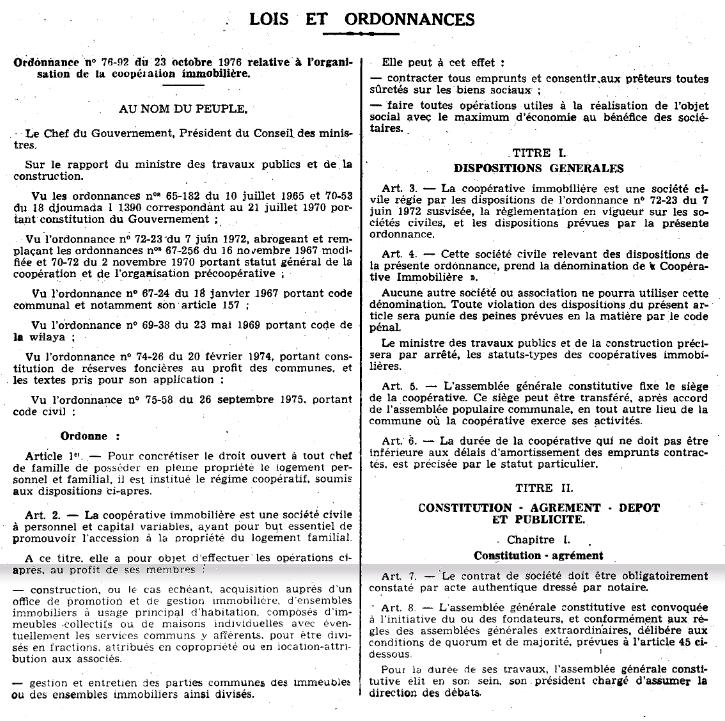 Ordonnance n 76-92 relative à l'organisation de la coopération immobilière Page110
