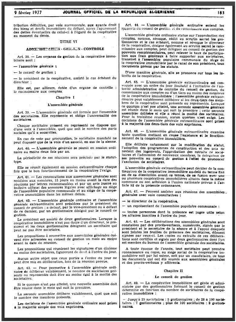 Ordonnance n 76-92 relative à l'organisation de la coopération immobilière Page410