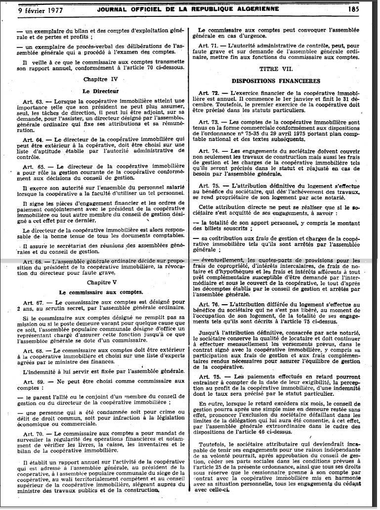 Ordonnance n 76-92 relative à l'organisation de la coopération immobilière Page610