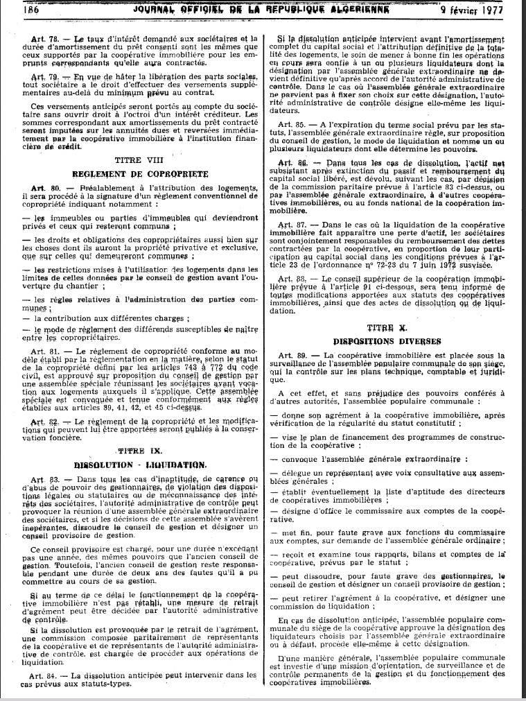 Ordonnance n 76-92 relative à l'organisation de la coopération immobilière Page710
