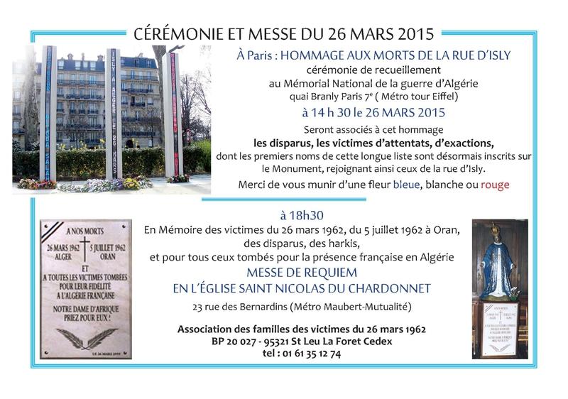 Commémoration massacre rue de l'Isly en Algérie Française le 26 mas 1962 26_mar10