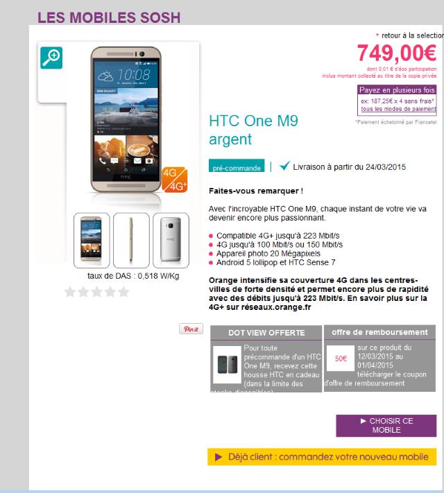 [Info] HTC one M9 - Où l'acheter et à quel prix ?  - Page 2 Sosh210