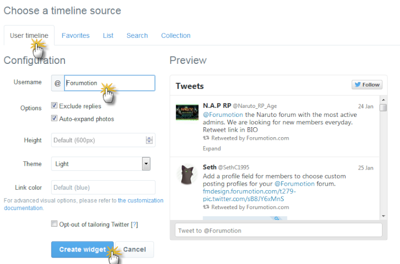 Twitter and Facebook widgets on your forum Im310