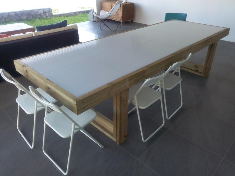 [TERMINE] Fabrication table en bois peint - polycarbonate pour terrasse Img_2021