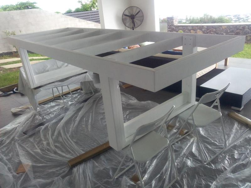 [TERMINE] Fabrication table en bois peint - polycarbonate pour terrasse Img_2062