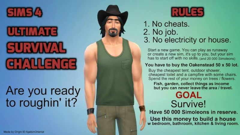 Sims4 Ultimate Survival Challenge by ApelsinOriental 10945813