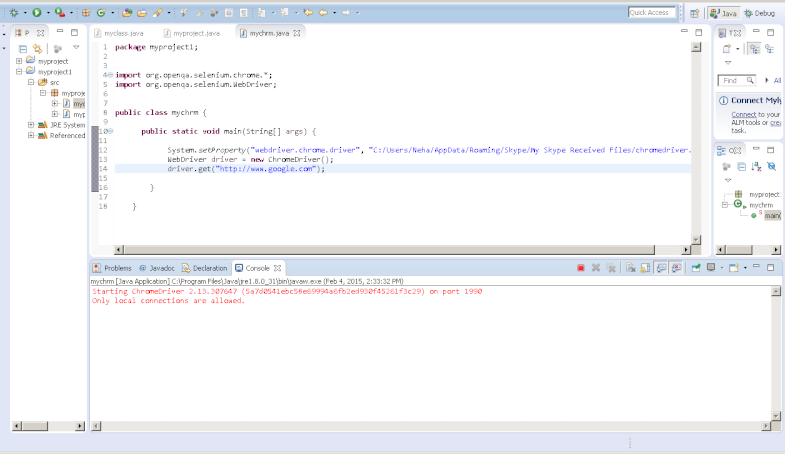 Chrome Driver in selenium not working Error11