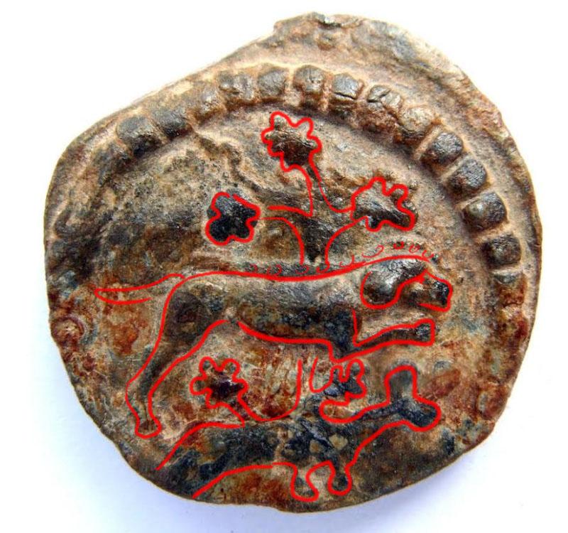 Méreau de plomb datant du XIIIe siècle environ  Chien_10