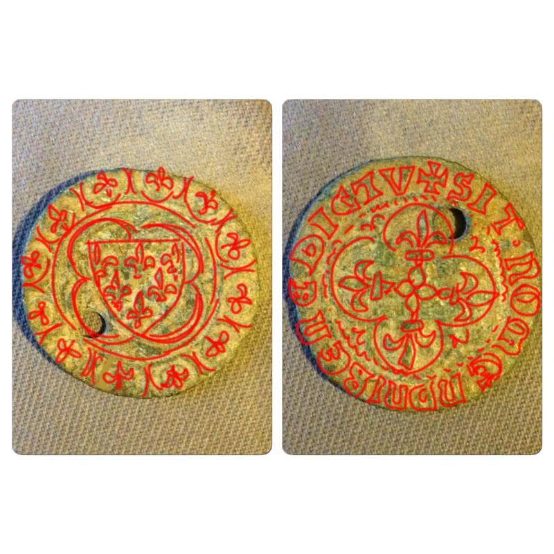 jeton de compte en cuivre datant du XVe siècle Redess10