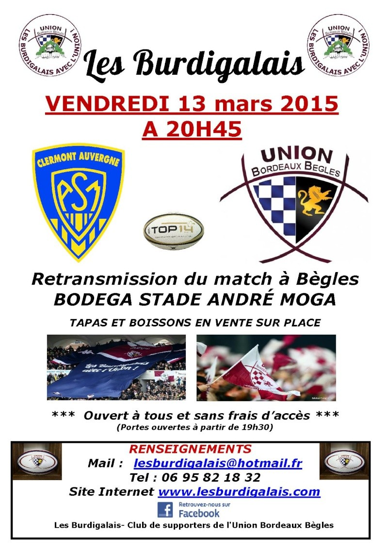 Retransmission du match ASM / UBB vendredi 13 mars 2015 Retran11