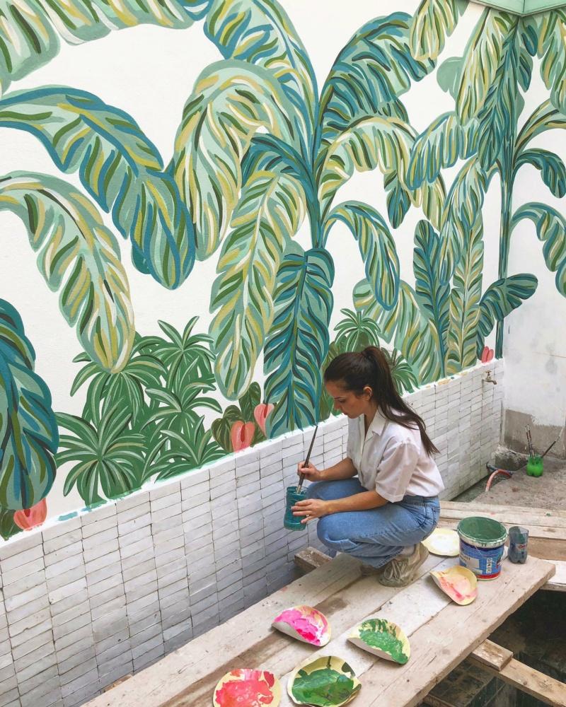 L'artiste contemporaine Leona Rose et ses jungles monochromes et fantastiques. Expo_l11