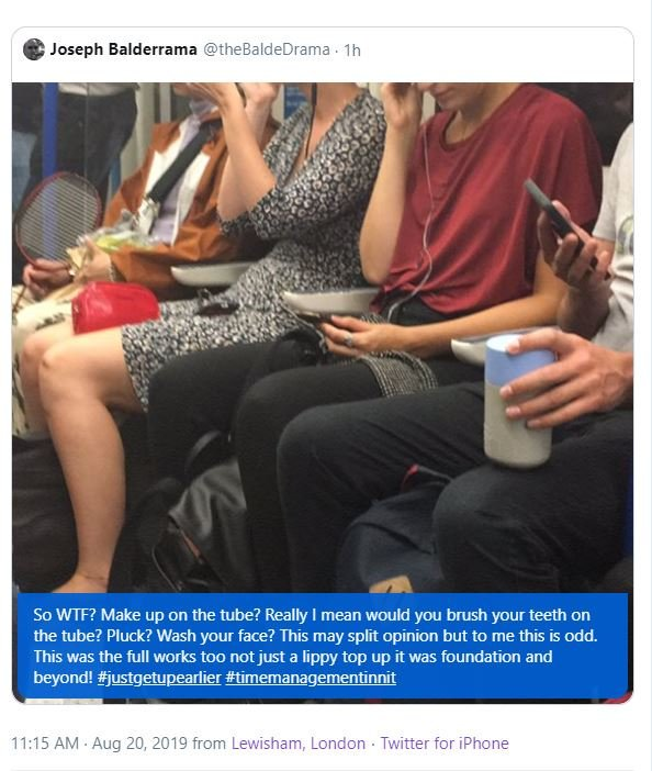 Man's 'creepy' shaming of woman doing make-up on train backfires horribly 79544f10