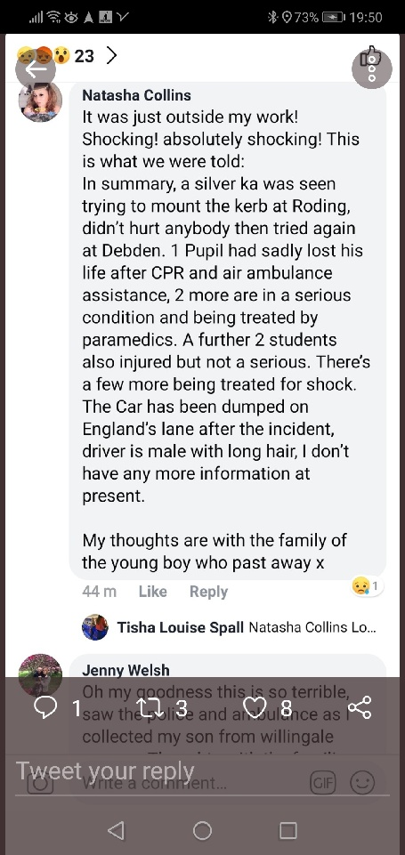 Debden Park High School: Boy, 12, dead and several hurt in crash C2f83210