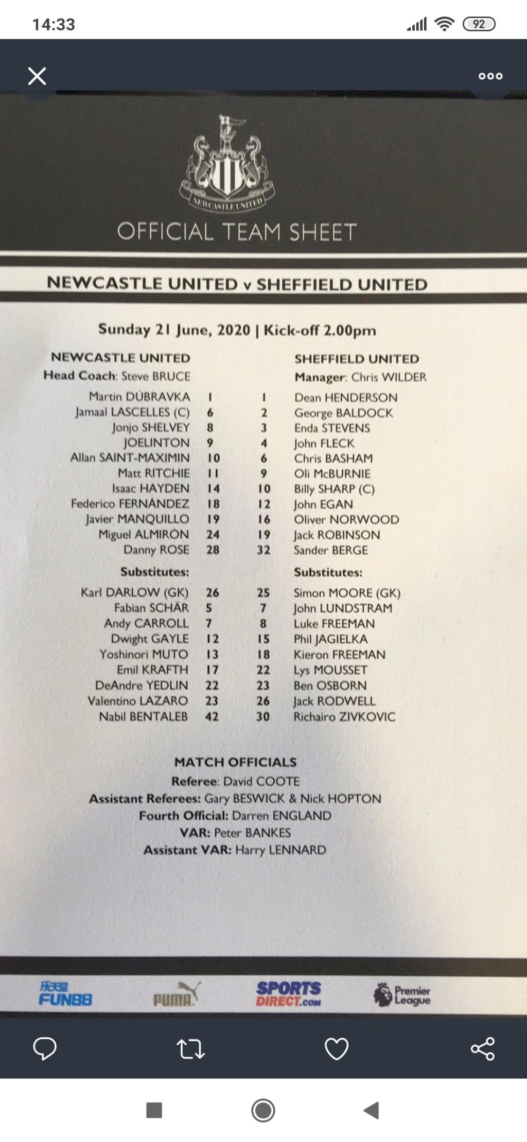 Newcastle Unuted - Sheffield United  3 : 0 Screen12