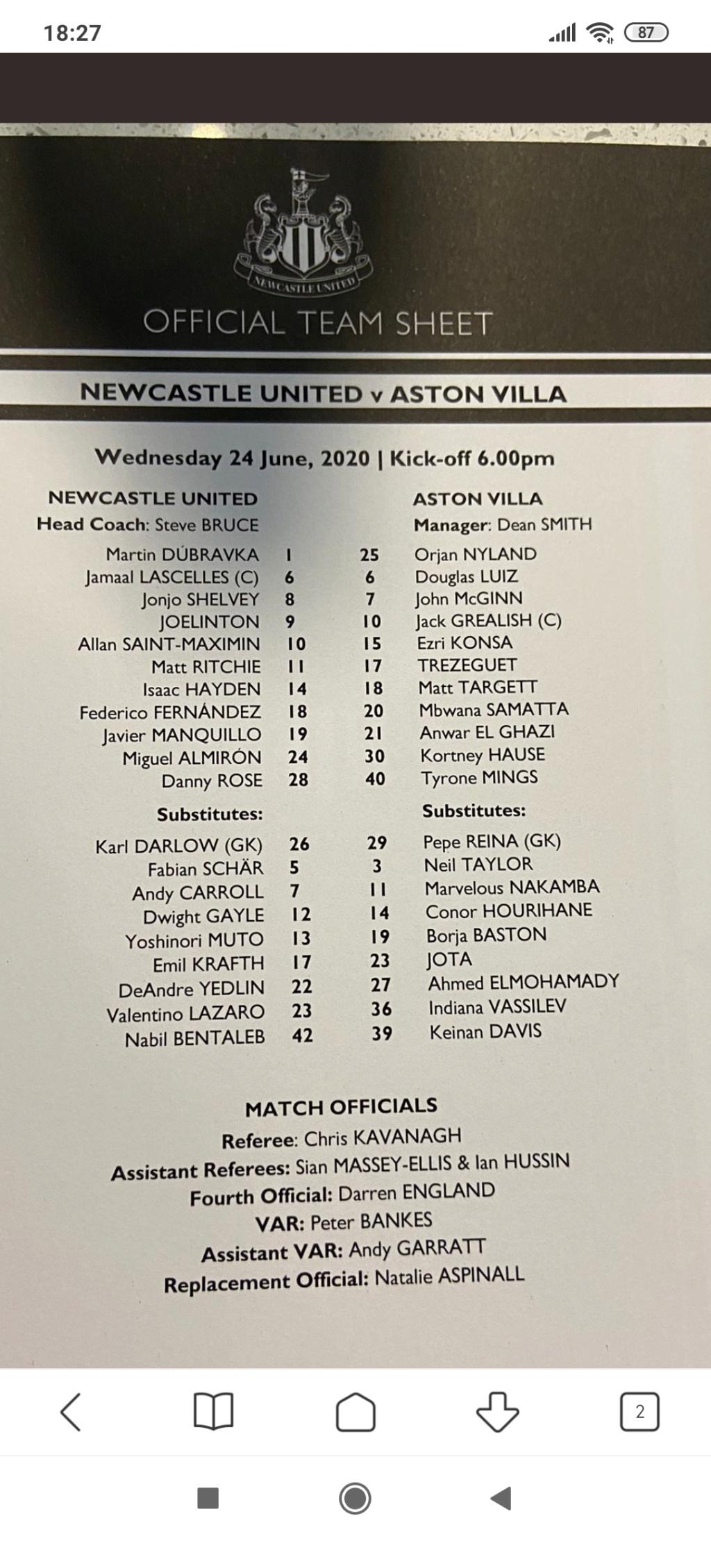Newcastle United - Aston Villa 1 : 1 Screen13