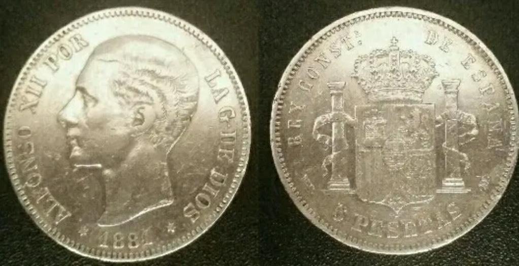 5 pesetas 1881. Alfonso XII. Opinión 2019-011