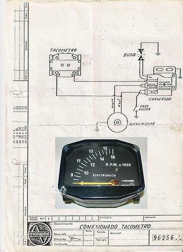 Esquema electrico tacometro Motoplat antiguo  Conexi10
