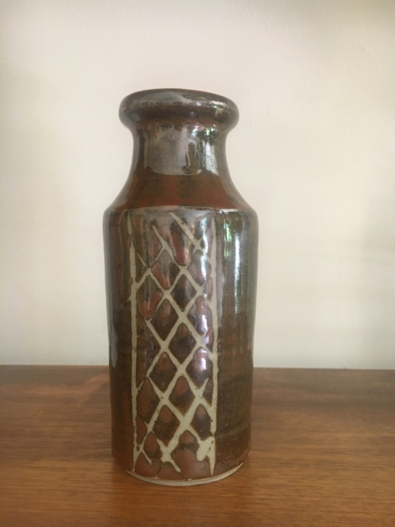 Brown lustre glaze cross-hatch stoneware bottle vase Img_4917