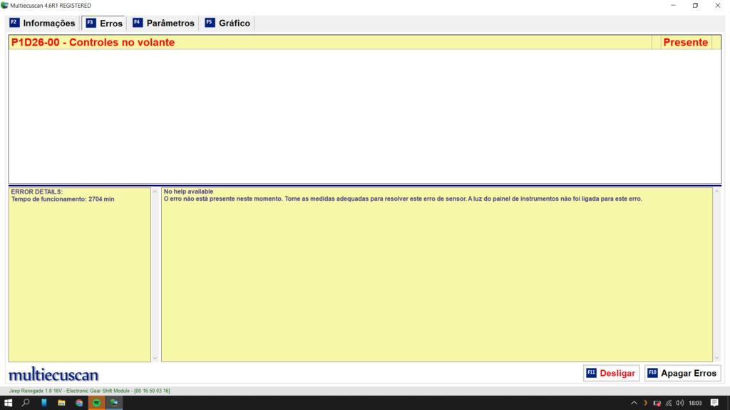 Erro no multiecuscan - paddle shift Erro_p10