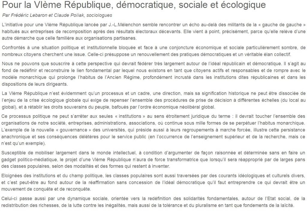 Je signe pour la 6e République + Déclaration de Marie George Buffet + Diverses signatures et appels (politiques, associatifs, intellectuels), signatures collectives (Socialistes affligés, militants PCF, Nouvelle Donne, syndicalistes)  01_pou10