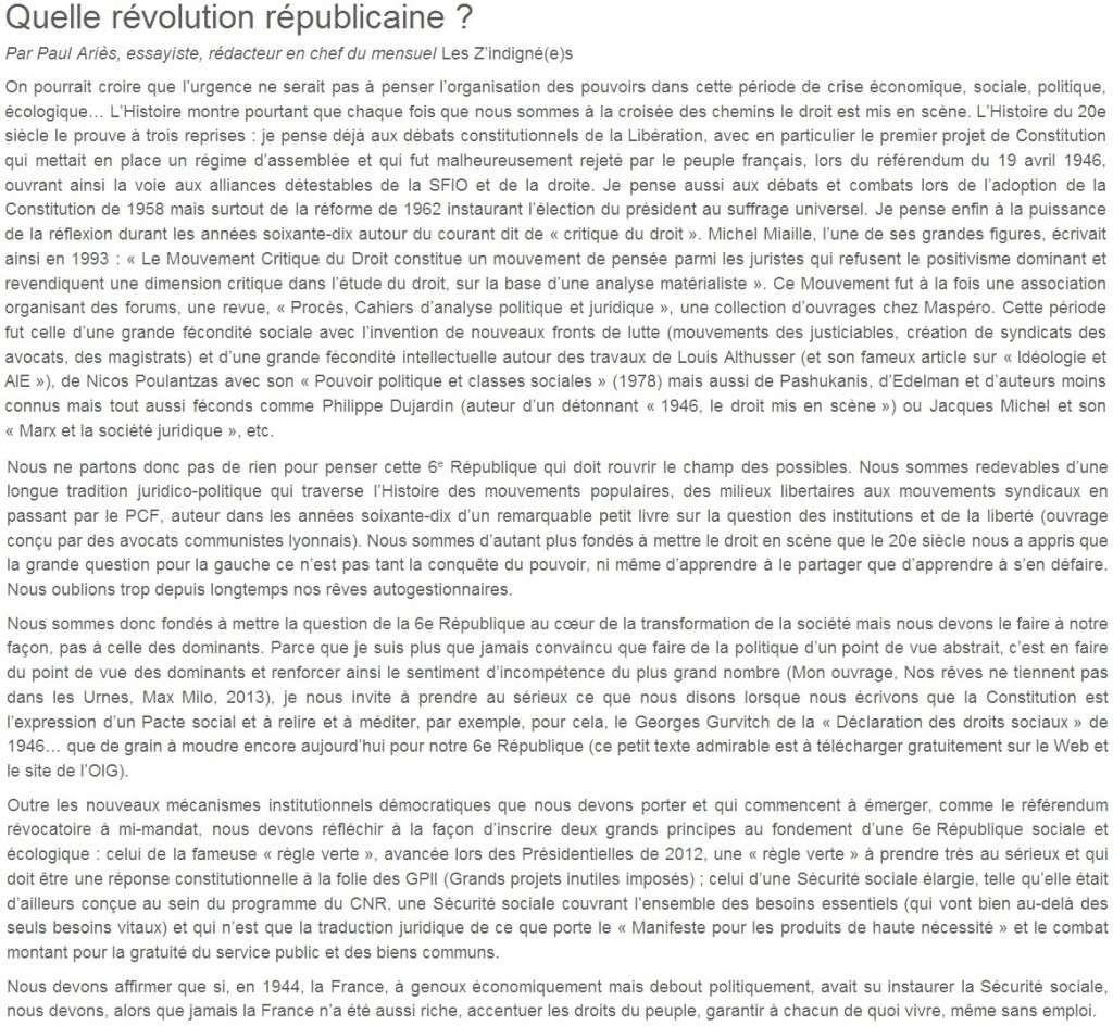 Je signe pour la 6e République + Déclaration de Marie George Buffet + Diverses signatures et appels (politiques, associatifs, intellectuels), signatures collectives (Socialistes affligés, militants PCF, Nouvelle Donne, syndicalistes)  03_que10