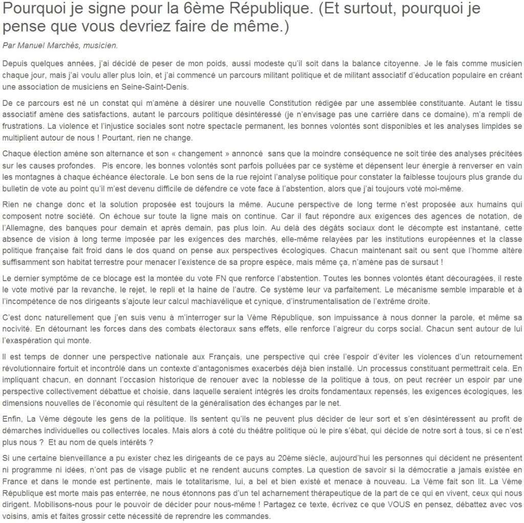 Je signe pour la 6e République + Déclaration de Marie George Buffet + Diverses signatures et appels (politiques, associatifs, intellectuels), signatures collectives (Socialistes affligés, militants PCF, Nouvelle Donne, syndicalistes)  10_pou10