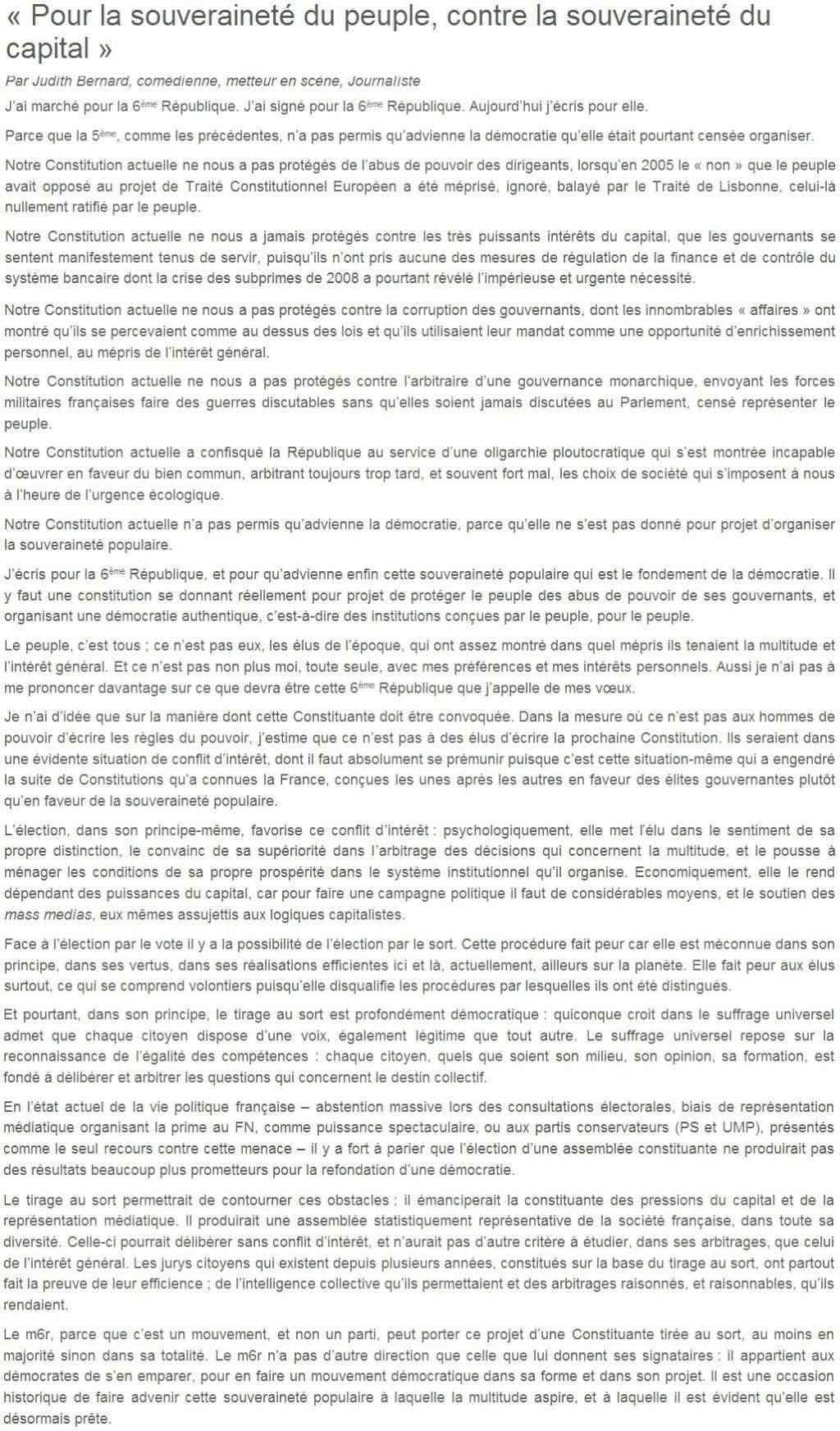 Je signe pour la 6e République + Déclaration de Marie George Buffet + Diverses signatures et appels (politiques, associatifs, intellectuels), signatures collectives (Socialistes affligés, militants PCF, Nouvelle Donne, syndicalistes)  12_pou10