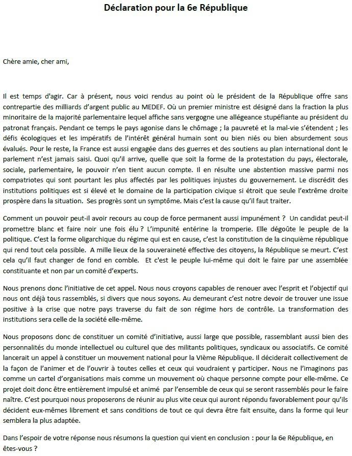 Je signe pour la 6e République + Déclaration de Marie George Buffet + Diverses signatures et appels (politiques, associatifs, intellectuels), signatures collectives (Socialistes affligés, militants PCF, Nouvelle Donne, syndicalistes)  Dyclar10